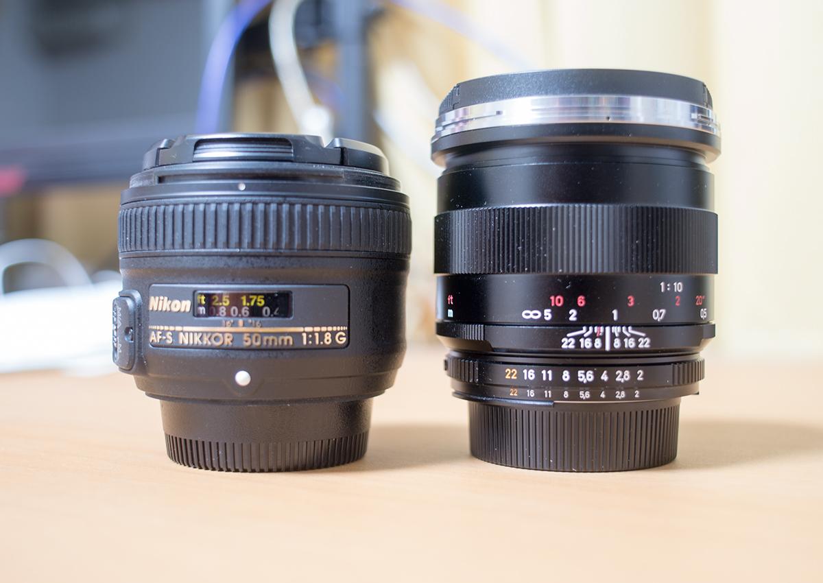 マクロプラナーとニコンAF50mm/f1.8
